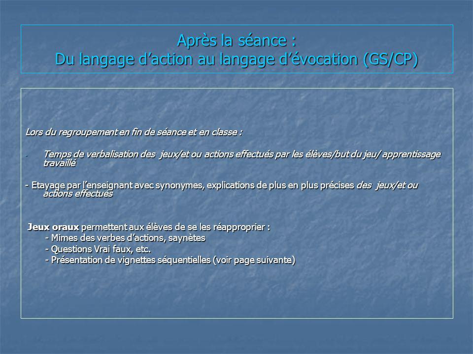 Après la séance : Du langage daction au langage dévocation (GS/CP) Lors du regroupement en fin de séance et en classe : - Temps de verbalisation des j