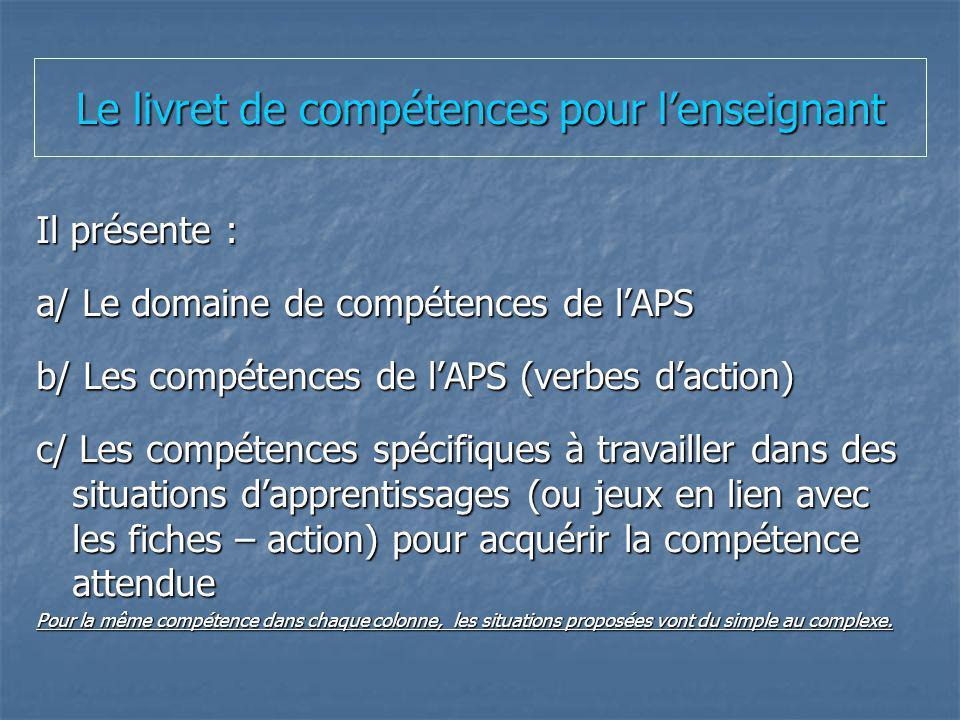 Le livret de compétences pour lenseignant Il présente : a/ Le domaine de compétences de lAPS b/ Les compétences de lAPS (verbes daction) c/ Les compét