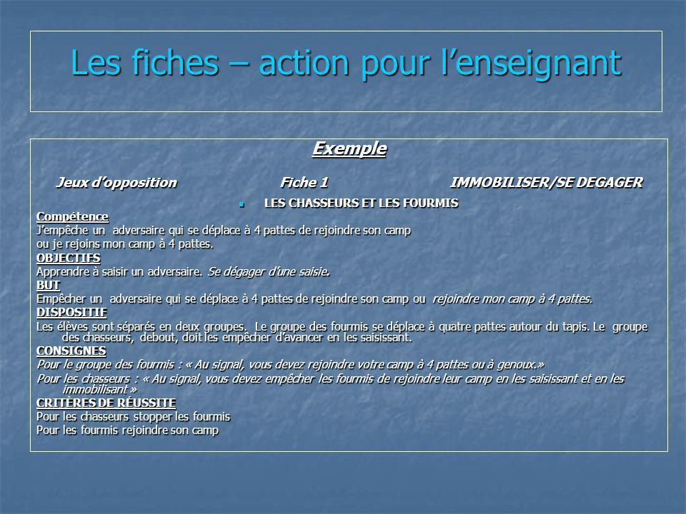 Les fiches – action pour lenseignant Exemple Jeux dopposition Fiche 1 IMMOBILISER/SE DEGAGER LES CHASSEURS ET LES FOURMIS LES CHASSEURS ET LES FOURMIS