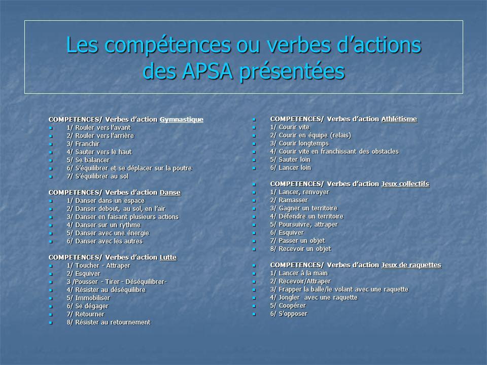Les compétences ou verbes dactions des APSA présentées COMPETENCES/ Verbes daction COMPETENCES/ Verbes daction Gymnastique 1/ Rouler vers lavant 1/ Ro