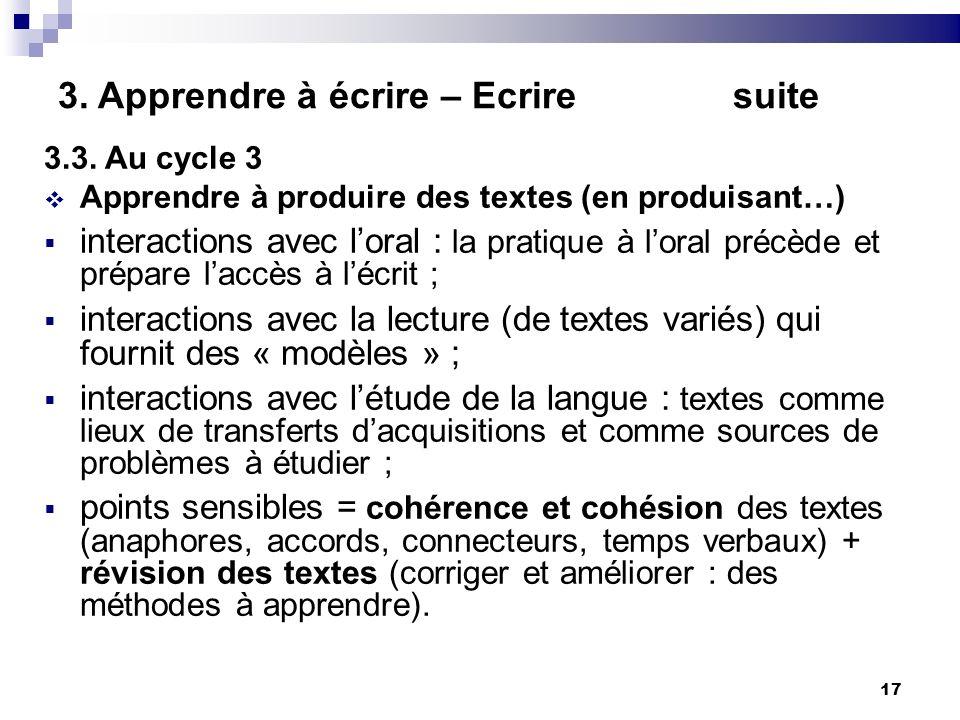 17 3. Apprendre à écrire – Ecrire suite 3.3. Au cycle 3 Apprendre à produire des textes (en produisant…) interactions avec loral : la pratique à loral