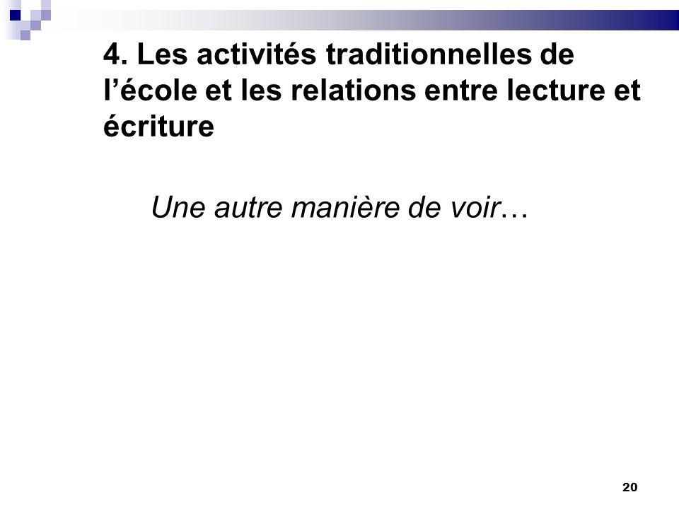 20 4. Les activités traditionnelles de lécole et les relations entre lecture et écriture Une autre manière de voir…