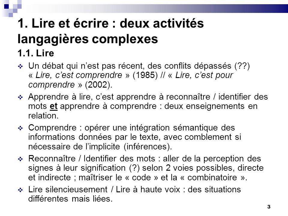 3 1. Lire et écrire : deux activités langagières complexes 1.1. Lire Un débat qui nest pas récent, des conflits dépassés (??) « Lire, cest comprendre