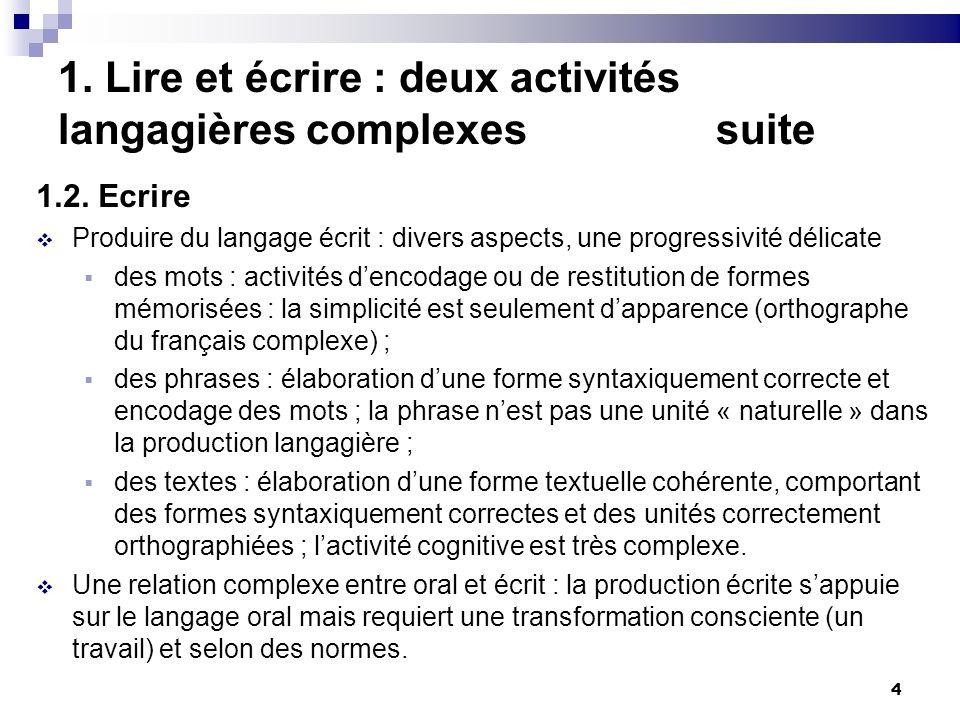 4 1. Lire et écrire : deux activités langagières complexes suite 1.2. Ecrire Produire du langage écrit : divers aspects, une progressivité délicate de