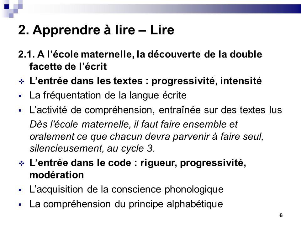 6 2. Apprendre à lire – Lire 2.1. A lécole maternelle, la découverte de la double facette de lécrit Lentrée dans les textes : progressivité, intensité