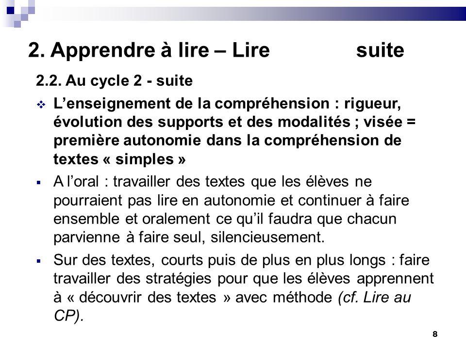 8 2. Apprendre à lire – Lire suite 2.2. Au cycle 2 - suite Lenseignement de la compréhension : rigueur, évolution des supports et des modalités ; visé