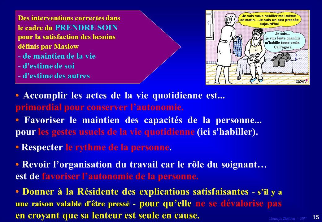 Monique Zambon - 1997 14 Droit à la responsabilité et à la participation Dans le cadre du prendre soin...