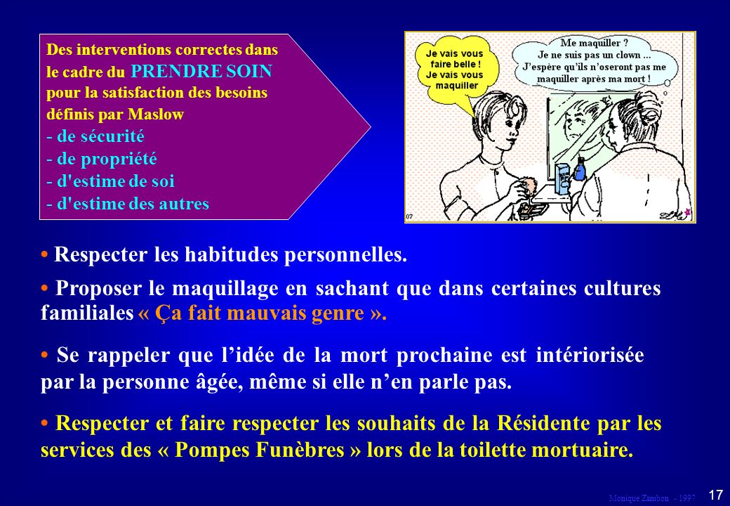 Monique Zambon - 1997 16 Droit au respect et à la dignité Dans le cadre du prendre soin...