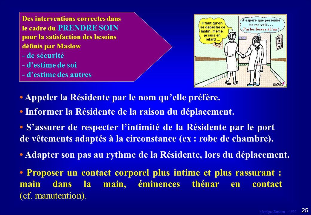 Monique Zambon - 1997 24 Droit au respect et à la dignité Dans le cadre du prendre soin...