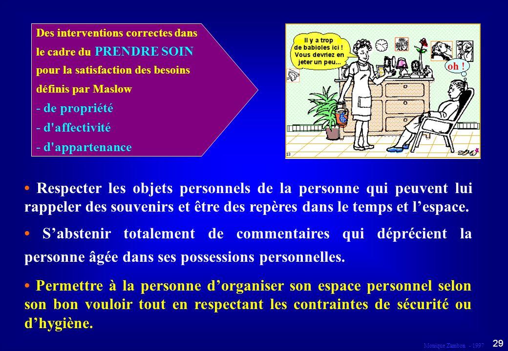 Monique Zambon - 1997 28 Droit à l intimité Dans le cadre du prendre soin...