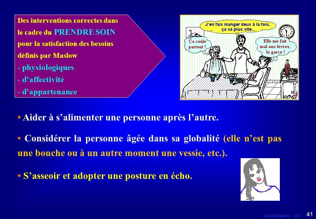 Monique Zambon - 1997 40 Droit au respect et à la dignité Dans le cadre du prendre soin...