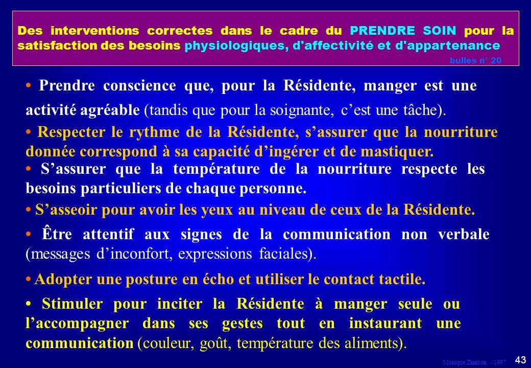 Monique Zambon - 1997 42 Droit au respect Dans le cadre du prendre soin...