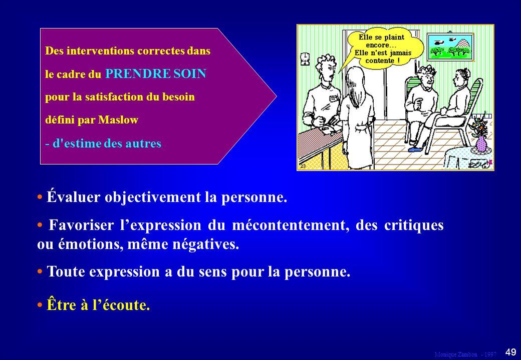 Monique Zambon - 1997 48 Droit à l information et à la liberté d expression Dans le cadre du prendre soin...