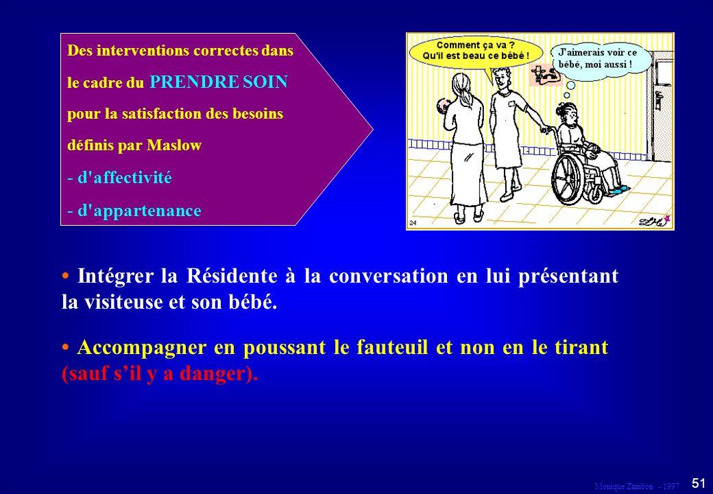 Monique Zambon - 1997 50 Droit au respect et à la dignité Dans le cadre du prendre soin...