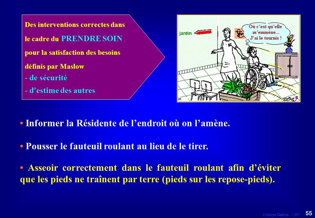 Monique Zambon - 1997 54 Droit au respect et à la dignité Dans le cadre du prendre soin...