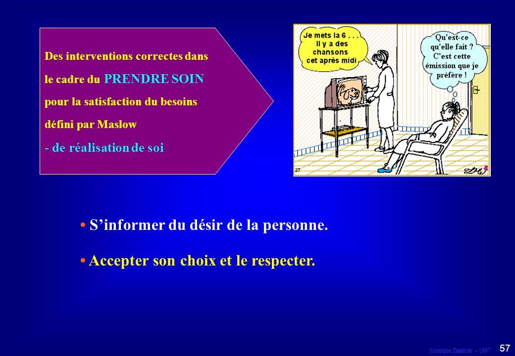 Monique Zambon - 1997 56 Droit au respect et à la liberté d expression Dans le cadre du prendre soin...