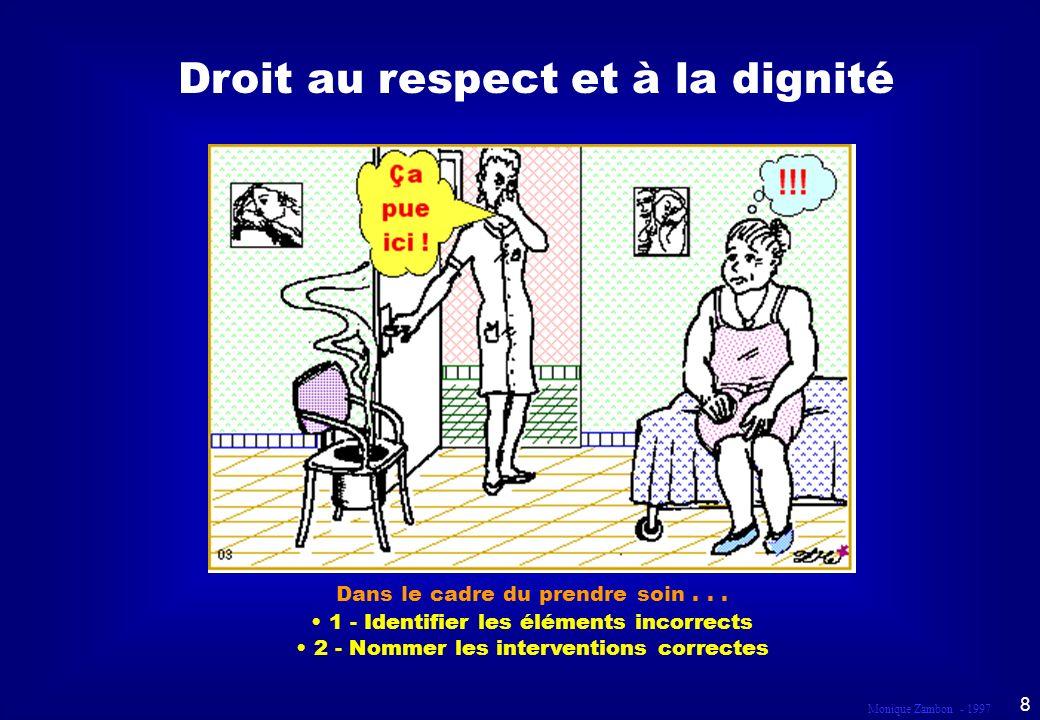 Monique Zambon - 1997 58 Droit au respect et à la dignité Dans le cadre du prendre soin...