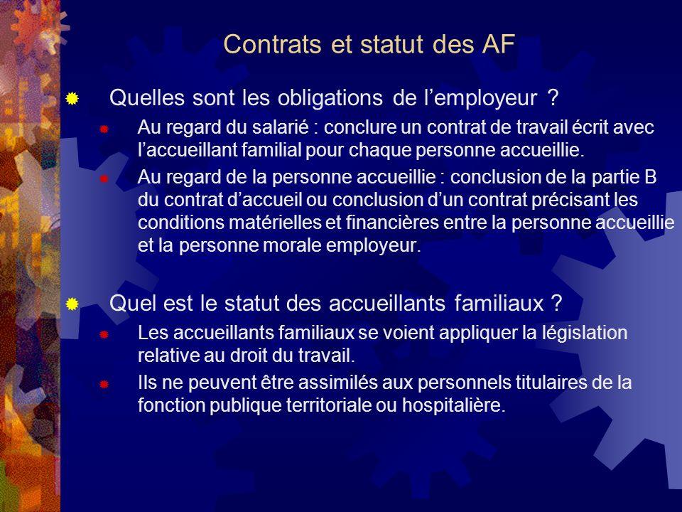 Contrats et statut des AF Quelles sont les obligations de lemployeur ? Au regard du salarié : conclure un contrat de travail écrit avec laccueillant f
