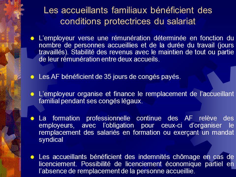 Les accueillants familiaux bénéficient des conditions protectrices du salariat Lemployeur verse une rémunération déterminée en fonction du nombre de p