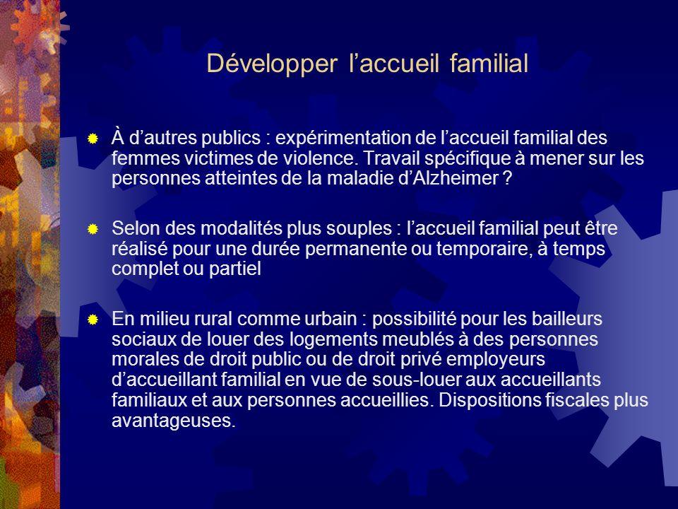 Développer laccueil familial À dautres publics : expérimentation de laccueil familial des femmes victimes de violence. Travail spécifique à mener sur