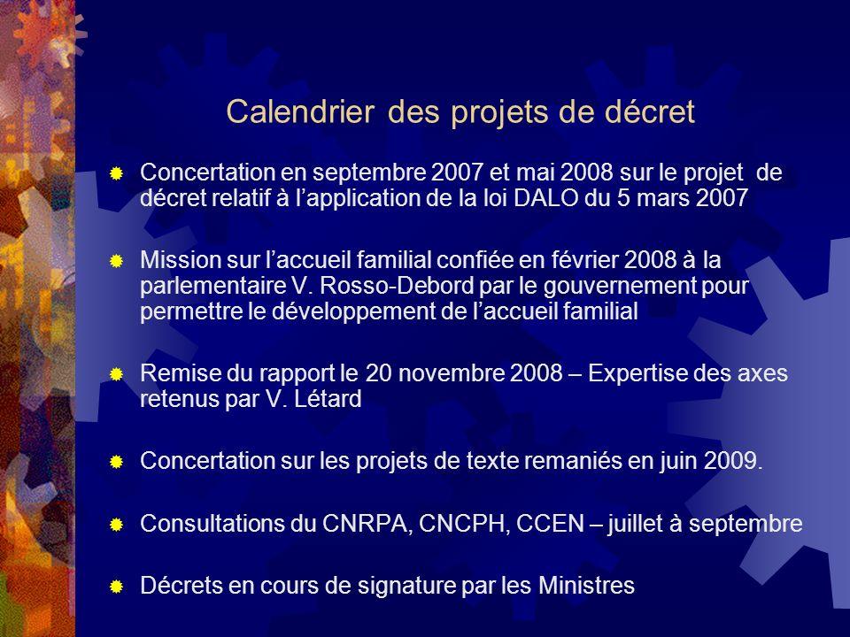 Calendrier des projets de décret Concertation en septembre 2007 et mai 2008 sur le projet de décret relatif à lapplication de la loi DALO du 5 mars 20