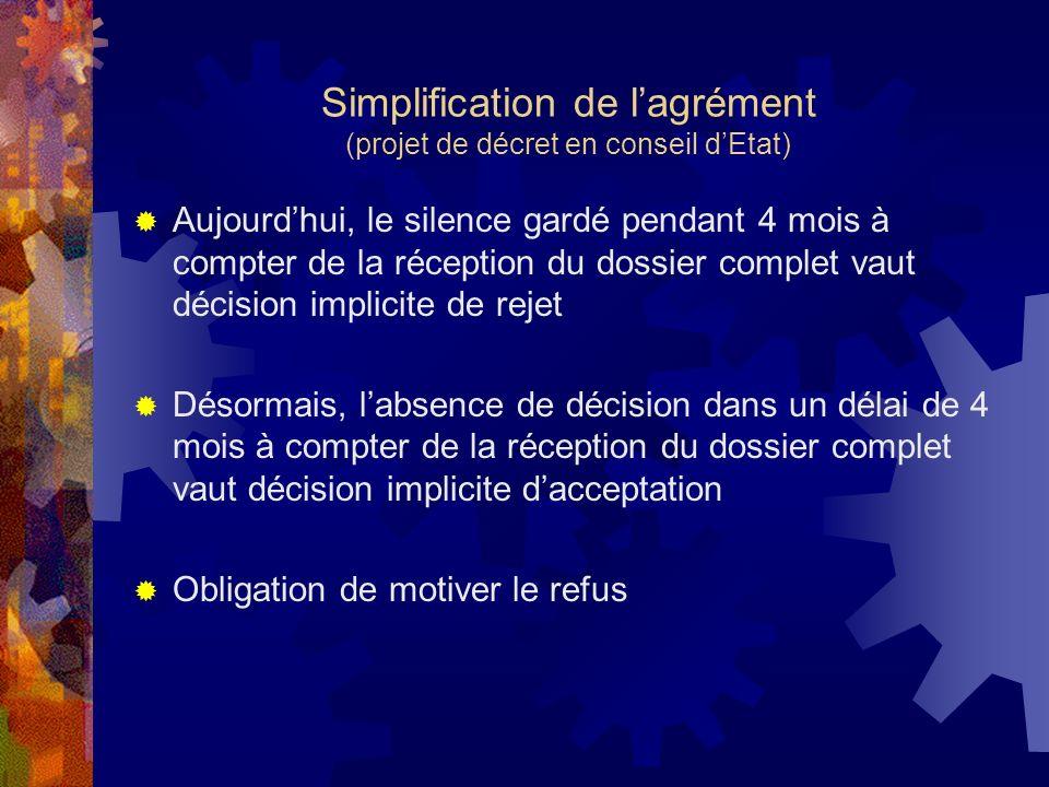 Simplification de lagrément (projet de décret en conseil dEtat) Aujourdhui, le silence gardé pendant 4 mois à compter de la réception du dossier compl