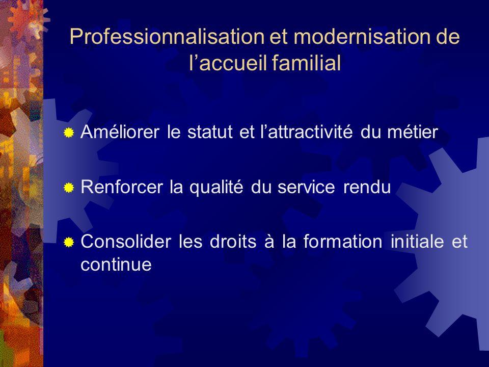 Professionnalisation et modernisation de laccueil familial Améliorer le statut et lattractivité du métier Renforcer la qualité du service rendu Consol