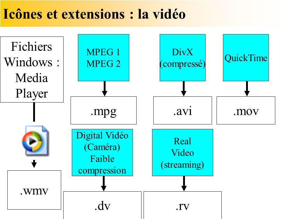 Icônes et extensions : la vidéo Fichiers Windows : Media Player.wmv.mpg MPEG 1 MPEG 2.avi DivX (compressé).dv Digital Vidéo (Caméra) Faible compressio