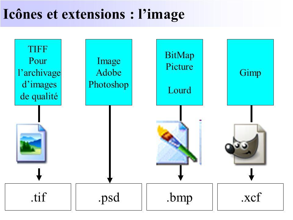 Icônes et extensions : limage.tif TIFF Pour larchivage dimages de qualité.xcf Gimp.psd Image Adobe Photoshop.bmp BitMap Picture Lourd