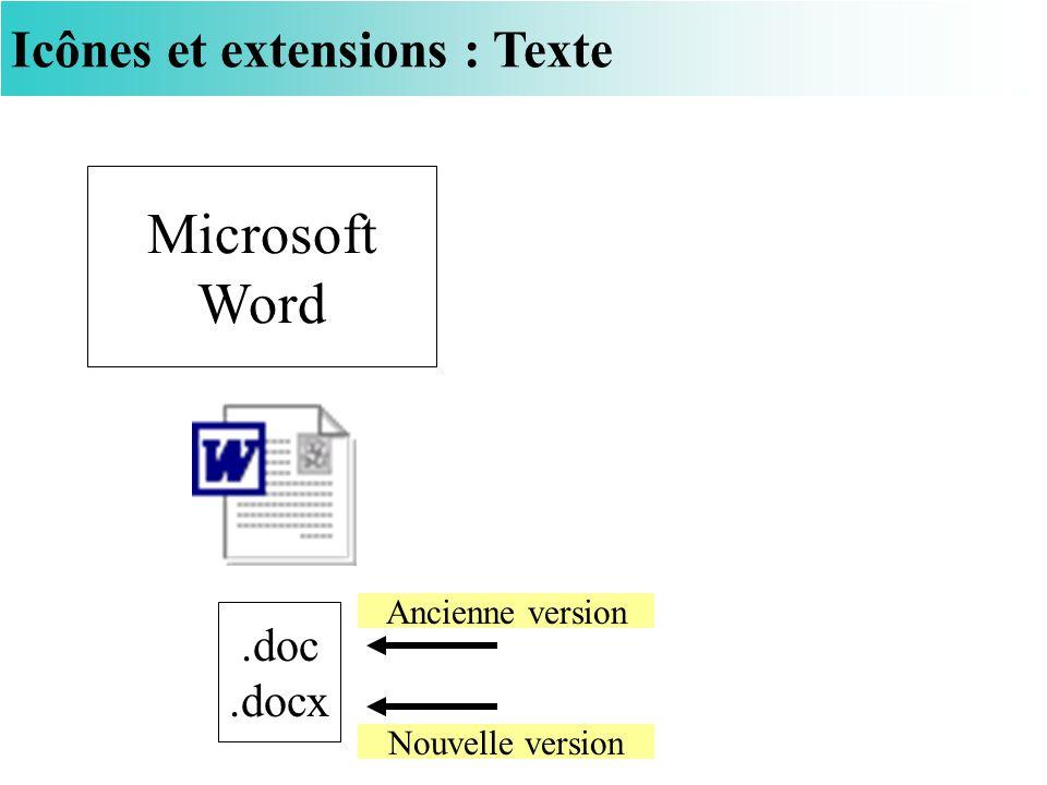 Icônes et extensions : Texte Microsoft Word.doc.docx Nouvelle version Ancienne version