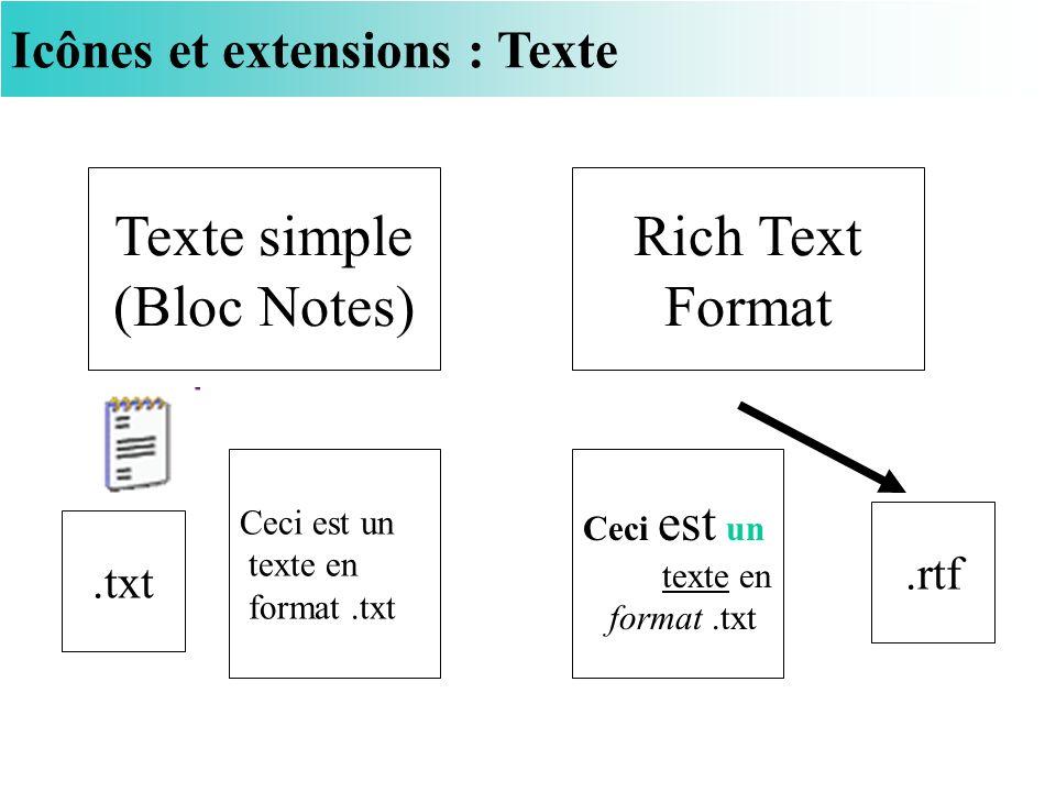 Icônes et extensions : Texte Texte simple (Bloc Notes) Rich Text Format.txt.rtf Ceci est un texte en format.txt Ceci est un texte en format.txt