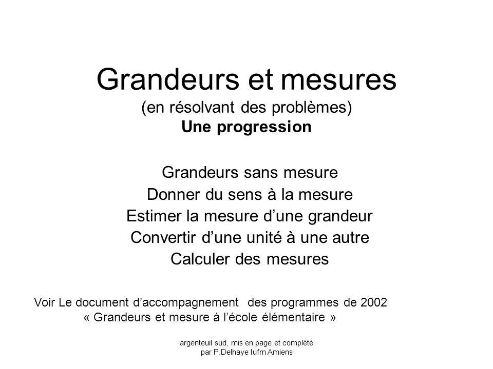 Grandeurs et mesures (en résolvant des problèmes) Une progression Grandeurs sans mesure Donner du sens à la mesure Estimer la mesure dune grandeur Con