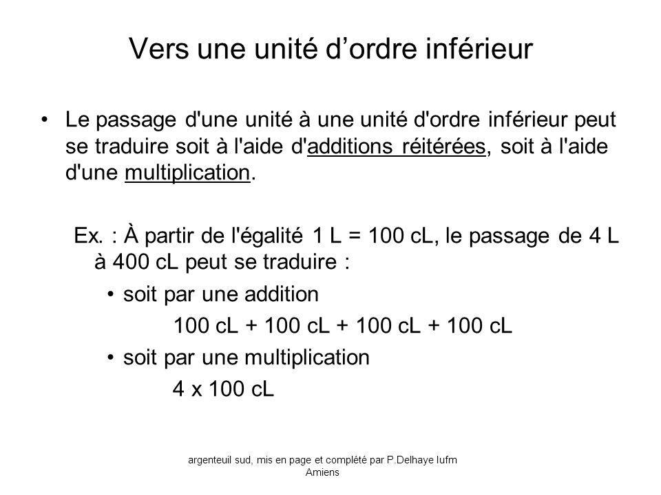 Vers une unité dordre inférieur Le passage d'une unité à une unité d'ordre inférieur peut se traduire soit à l'aide d'additions réitérées, soit à l'ai