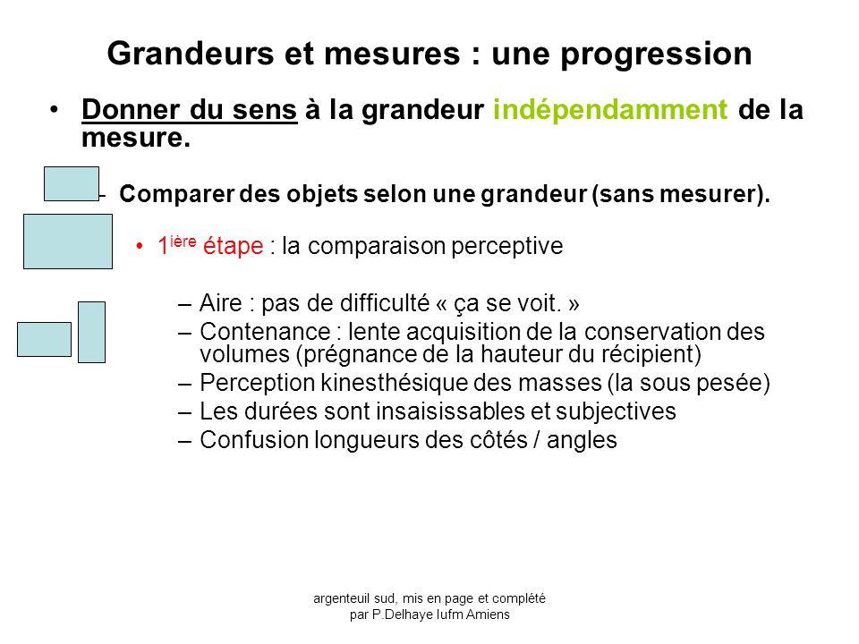 Grandeurs et mesures : une progression Donner du sens à la grandeur indépendamment de la mesure. –Comparer des objets selon une grandeur (sans mesurer