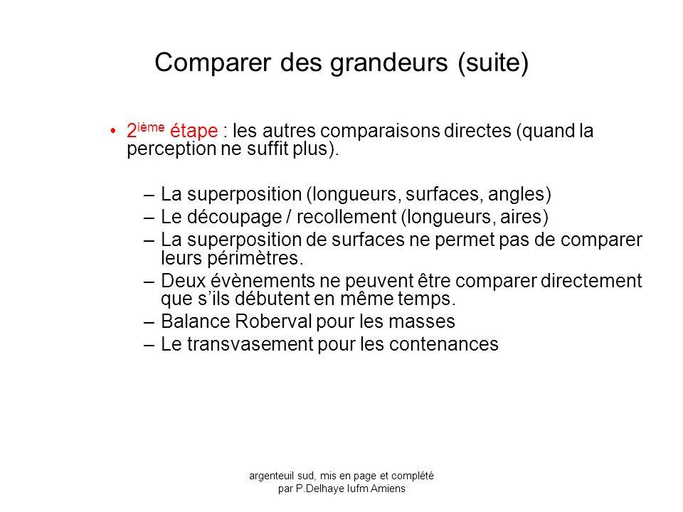 Comparer des grandeurs (suite) 2 ième étape : les autres comparaisons directes (quand la perception ne suffit plus). –La superposition (longueurs, sur