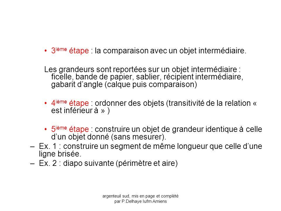 3 ième étape : la comparaison avec un objet intermédiaire. Les grandeurs sont reportées sur un objet intermédiaire : ficelle, bande de papier, sablier