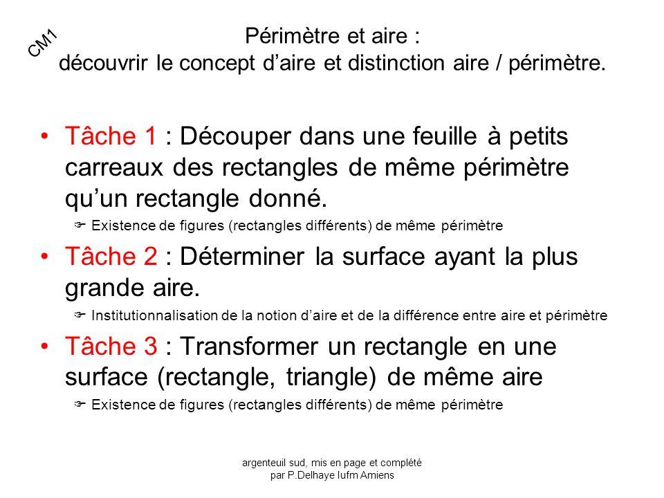 Périmètre et aire : découvrir le concept daire et distinction aire / périmètre. Tâche 1 : Découper dans une feuille à petits carreaux des rectangles d