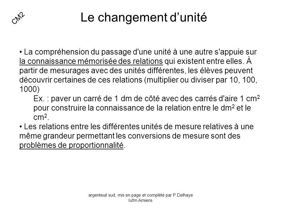 Le changement dunité La compréhension du passage d'une unité à une autre s'appuie sur la connaissance mémorisée des relations qui existent entre elles