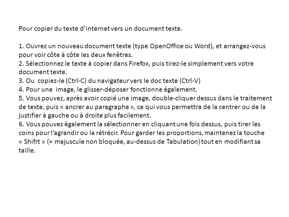 Pour copier du texte dinternet vers un document texte.