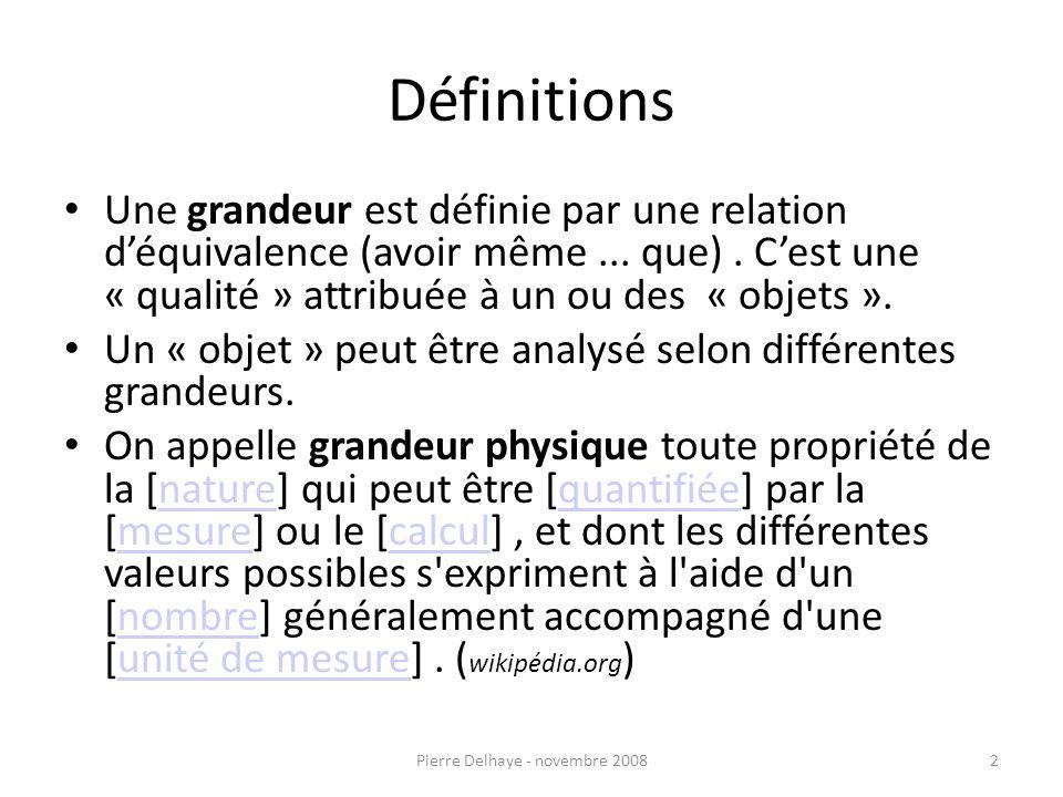 Définitions Une grandeur est définie par une relation déquivalence (avoir même...