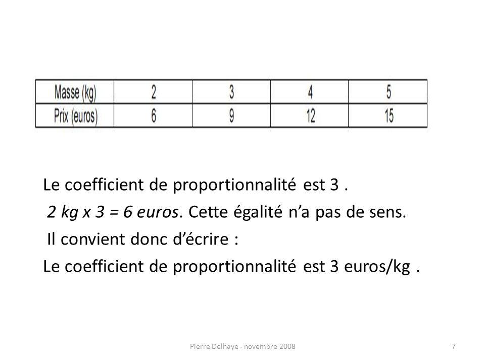 7 Le coefficient de proportionnalité est 3. 2 kg x 3 = 6 euros.