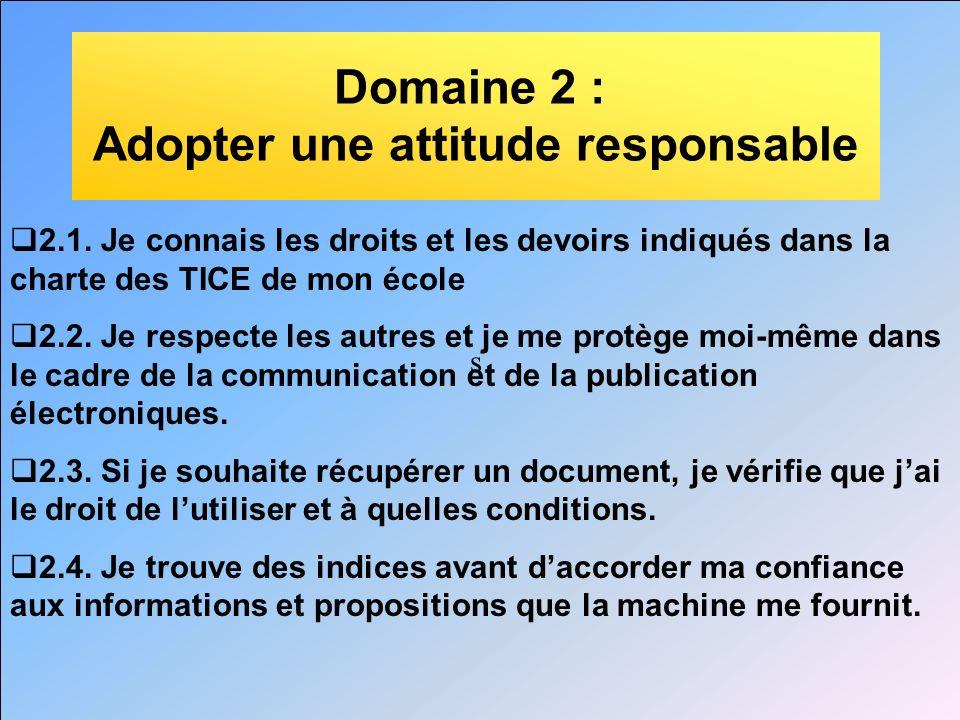 s Domaine 2 : Adopter une attitude responsable 2.1. Je connais les droits et les devoirs indiqués dans la charte des TICE de mon école 2.2. Je respect