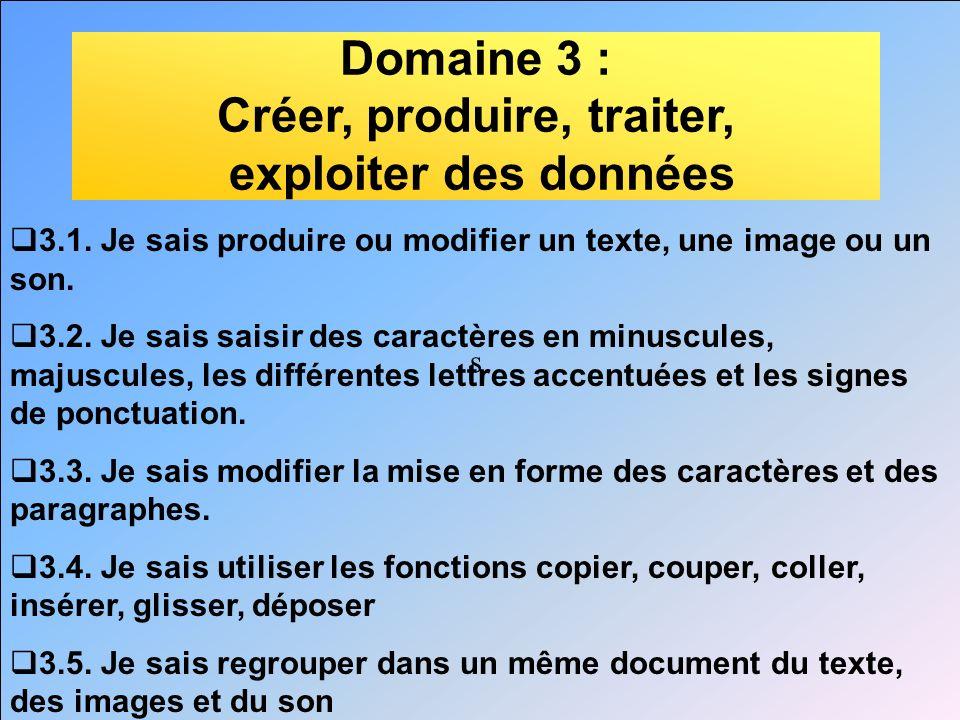 s Domaine 3 : Créer, produire, traiter, exploiter des données 3.1. Je sais produire ou modifier un texte, une image ou un son. 3.2. Je sais saisir des