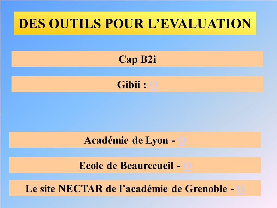 DES OUTILS POUR LEVALUATION Cap B2i Académie de Lyon - OO Ecole de Beaurecueil - OO Le site NECTAR de lacadémie de Grenoble - OO Gibii : OO