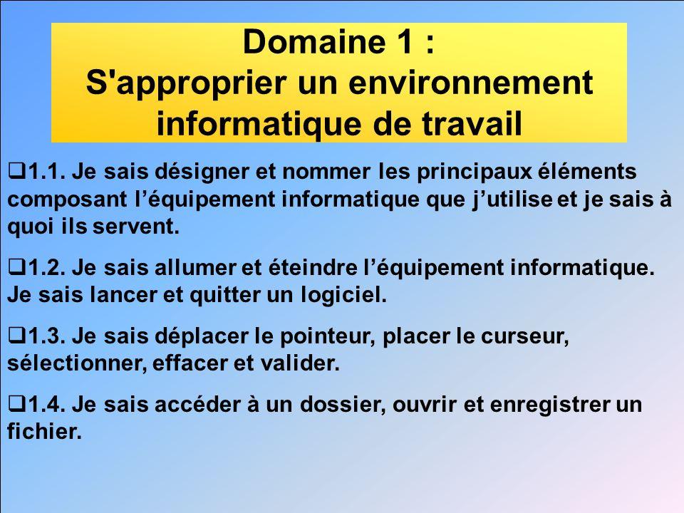 Domaine 1 : S'approprier un environnement informatique de travail 1.1. Je sais désigner et nommer les principaux éléments composant léquipement inform