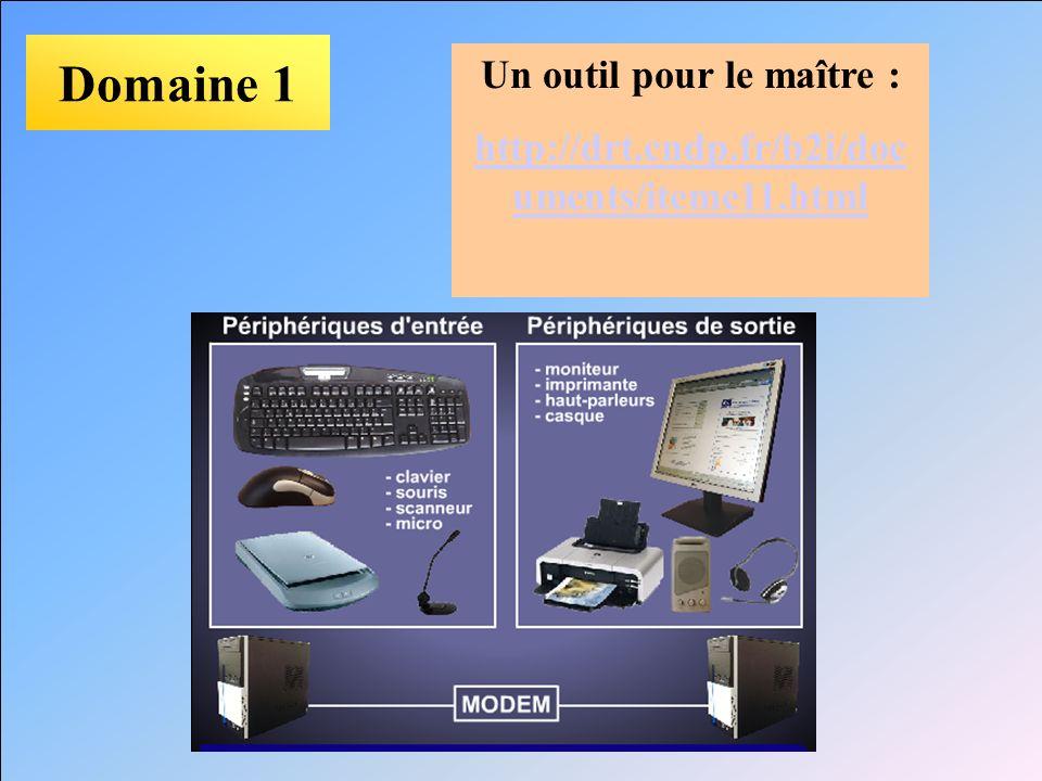 Domaine 1 Un outil pour le maître : http://drt.cndp.fr/b2i/doc uments/iteme11.html