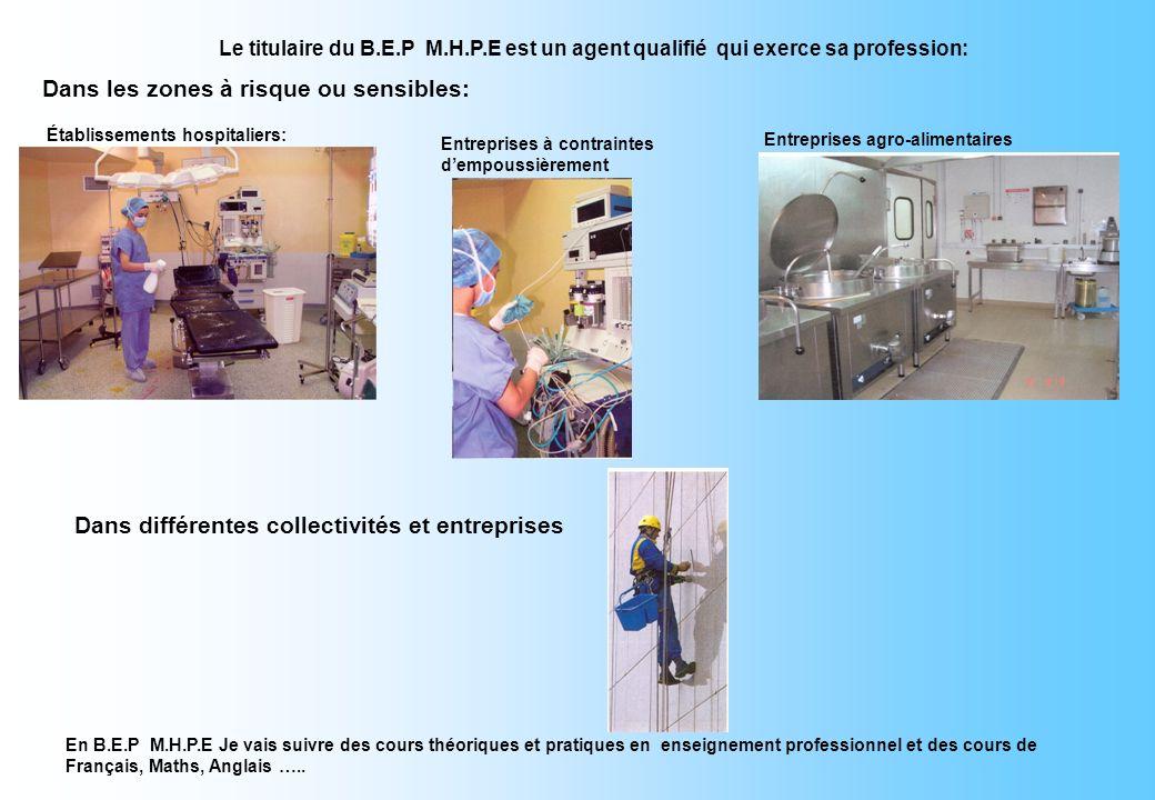 MON AVENIR avec le BEP - Je peux poursuivre ma formation: Métiers de l Hygiène de la Propreté et de lEnvironnement SECTEURS D'ACTIVITÉS Lycée Professi