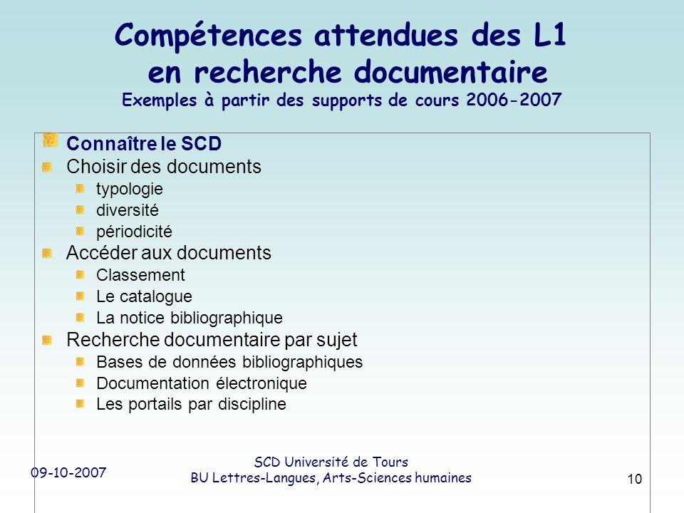09-10-2007 SCD Université de Tours BU Lettres-Langues, Arts-Sciences humaines 10 Compétences attendues des L1 en recherche documentaire Exemples à par