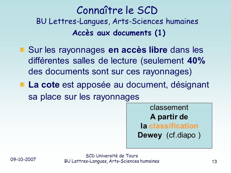 09-10-2007 SCD Université de Tours BU Lettres-Langues, Arts-Sciences humaines 13 Connaître le SCD BU Lettres-Langues, Arts-Sciences humaines Accès aux