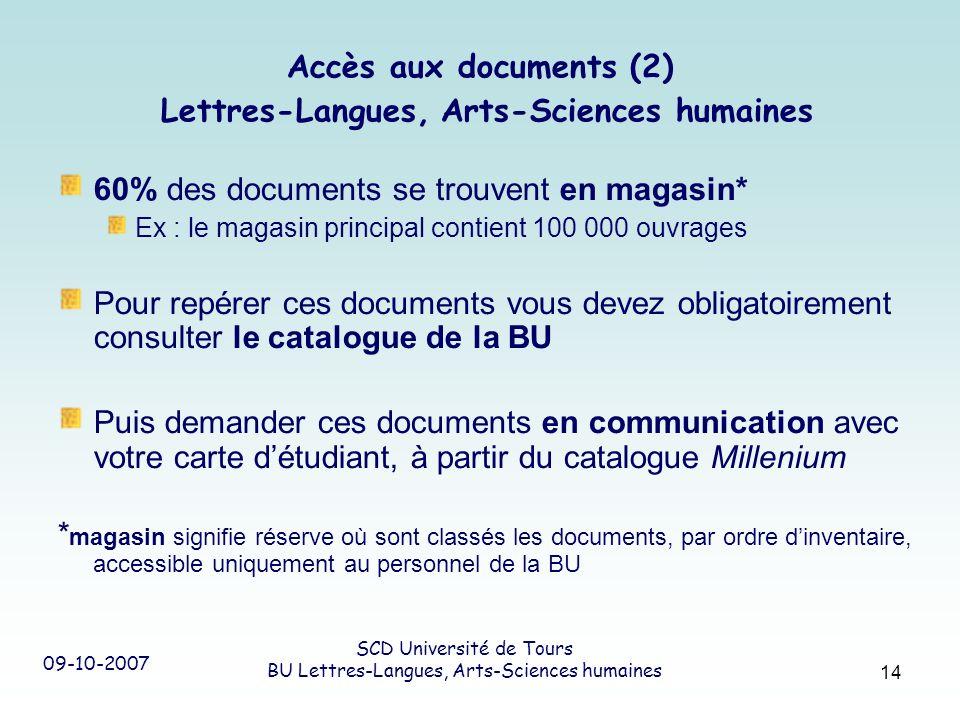 09-10-2007 SCD Université de Tours BU Lettres-Langues, Arts-Sciences humaines 14 Accès aux documents (2) Lettres-Langues, Arts-Sciences humaines 60% d